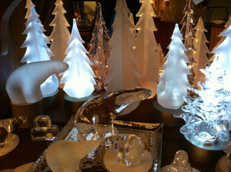 Some of the glass of Simon Pearce is more fun than useful. Some holiday ornaments were on display during our visit.