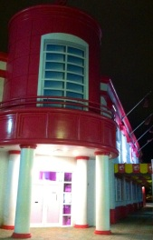 The exterior of Barbie's house is pink, too.