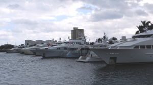 Millions of dollars worth of fiberglas and chrome lined up in Fort Lauderdale's New River.