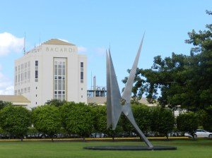 Bacardi's headquarters across the bay from Old San Juan features beautiful landscaping and sculptures.