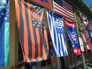 You'll never forget its Spring Training in Scottsdale. Flags and signs are everywhere — although, the Orioles don't play here. (Still happy to see a flag for my favorite team.)