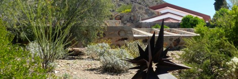 Frank Lloyd Wright designed his buildings to fit in the landscape. That is true at Taliesin West, Scottsdale, Arizona.