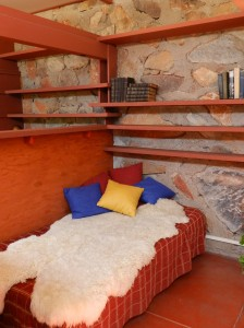 Frank Lloyd Wright had a mind that worked overtime and late into the night. He usually took a nap before tea time on this bed in his room overlooking the garden.