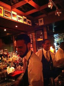 Christian and Faust at the bar, Carli's Fine Bistro and Piano in Old San Juan.