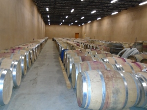 Black Ankle has a brand new and enormous barrel room, made from hay bales with solar panels along its flat roof.