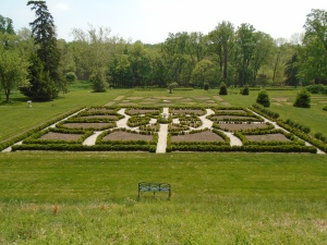 Formal gardens are planted with annuals after Mother's Day.