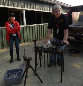 That's April our guide on the left. We got an impromptu lesson on horse shoes during our tour from the track farrier.