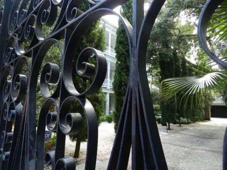 A wrought iron gate encloses the verdant garden of the home of Thomas Gadsden, who was grandson of Revolutionary War hero Gen. Christopher Gadsden.
