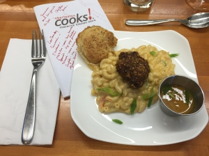 The finished meal of pecan fried chicken, pimento macaroni and cheese and a pepper biscuit, Chef Blair's own recipe.
