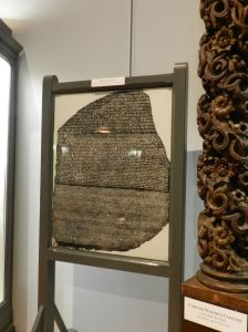 A copy of the Rosetta Stone came from the British Museum, where the original resides.