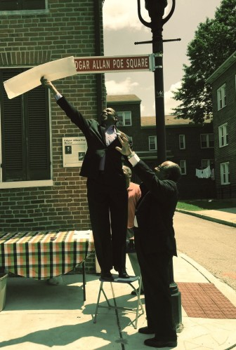 City officials unveiled a new sign outside of Edgar Allan Poe's Baltimore home July 11.