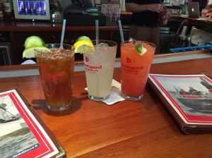 Boatyard's refreshments: Pimm's cup, cucumber cooler and rum swizzle. Frosty and refreshing.