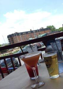 A Naptown Sunset, Strawberry-lemonade crush and draft beer at Harbor Grill.