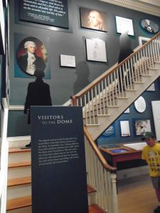 The stairs lead to the State House's dome. Visitors can no longer use them but the area is now part of a display of photos and historical details, complete with 21st Century technology. A touch screen is located below the turn of the stairs.