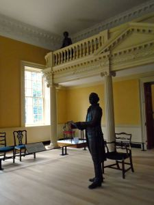Molly Ridout in the gallery hangs on George Washington's every word. She would report what she saw and heard that day in a letter on display here.