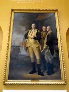 Washington, the Marquis de Lafayette and Tench Tilghman have returned to the old Senate Chamber.