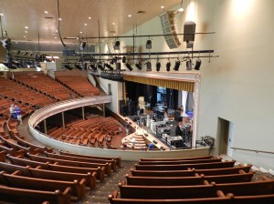 The view from the balcony to the stage below. That's Deep Purple's crew setting up for their show that evening.