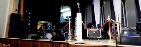 So many storied musicians have stood at this microphone at the Ryman Auditorium in Nashville. Today, anybody can stand there to have their photo taken.