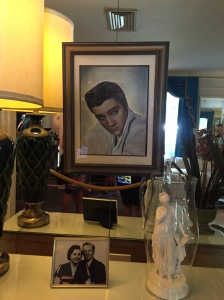 Photos of a young Elvis Presley hang on the walls of Graceland. I liked this one in the living room and the blonde Elvis on the wall up the stairs.