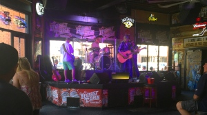The band played loud and hard at the Honky Tonk Central.