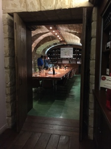 The tasting room is on the lower level of the 17th century building.