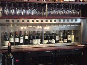 There are 40 wines to choose from at the wine bar. Many of them are