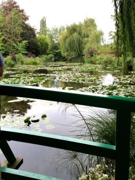 The view from the green Japanese bridge that appears in Monet's paintings.