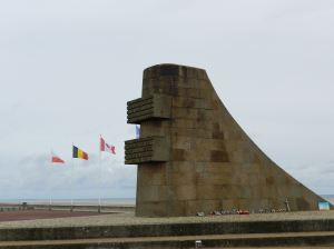 A memorial on Omaha Beach pays tribute to the soldiers who came ashore here.