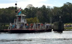 The Woodland Ferry is small but it's the only way to get across the creek here. (And it's fun.)