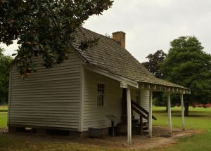 A small log cabin on the Gov. Ross Plantation once housed slaves.
