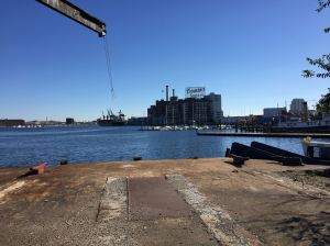 The end of the road on the southeast side. With Domino Sugar's iconic sign in the distance.
