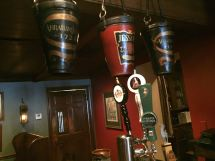 Old fashioned buckets hang above the bar at Jessop's Tavern.