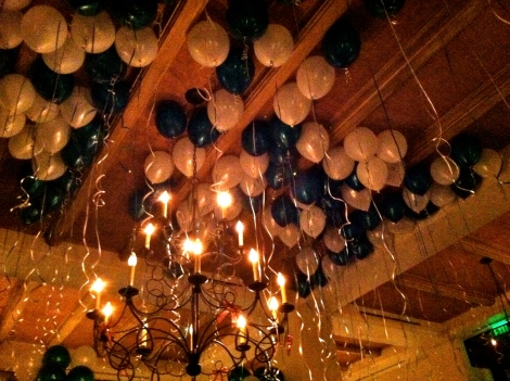 Balloons and streamers on the ceiling of Cinghiale Enoteca in Baltimore's Harbor East as diners await the ringing in of the new year.