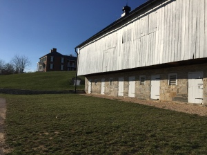 The big white barn served as a field hospital for enlisted men after the Civil War battle.