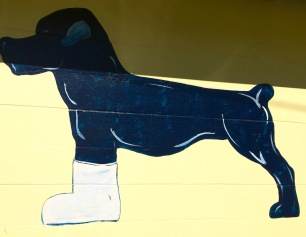 The Blue Dog Bar and Grill's logo makes me wonder about the story behind it.