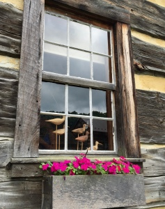 Gary Yoder's birds peer from the window of his log cabin studio.