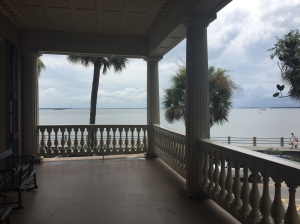 It is said Confederate Gen. PGT Beauregard washed the bombing of Fort Sumter from here. The fort is that tiny bump on the horizon between the tree and the porch post.