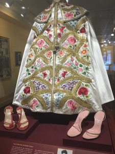 "The cape and shoes Ava Gardner wore in ""The Barefoot Contessa."""