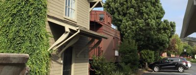 The Napa Valley Railway Inn accommodates guests in two short rows of railway cars parked on their tracks in Yountville.