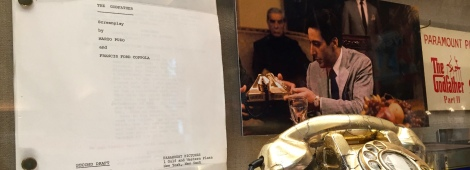 The script, still, poster and gold phone passed around in The Godfather II are on display in the Movie Gallery at Francis Ford Coppola Winery.