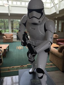 A storm trooper, um, welcomes visitors into the Lucasfilms lobby.