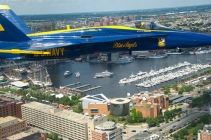 The US Navy's Blue Angels fly over Baltimore.