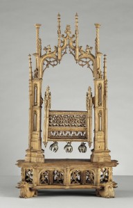 This crib of the Christ Child, On loan from the Musée de Cluny - Musée national du Moyen Age, was made of oak and silver in the 1500s.