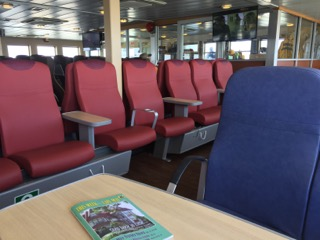 A variety of seating options are available on the ferry.