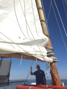 Captain Wade Murphy leads visitors on a sail of the Rebecca T. Ruark, the oldest working skipjack on the Chesapeake Bay.