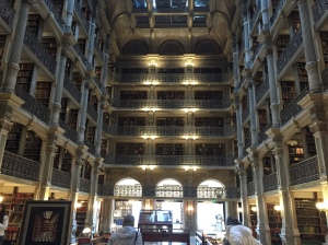 The George Peabody Library is worth seeing anytime. The Poe exhibit is located in a room just beyond this breathtaking space.