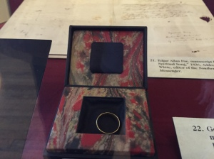 The ring Poe gave to the woman he hoped would become his second wife.