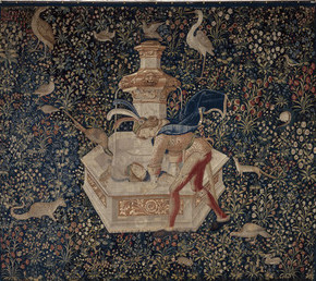 The tapestry of Narcissus at the Fountain, on loan from the Boston Museum of Fine Arts, is the first image visitors see.